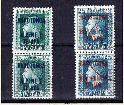 COOK ISLANDS - 1919  2 perf pairs (14 x 13½ and 14 x 14½)