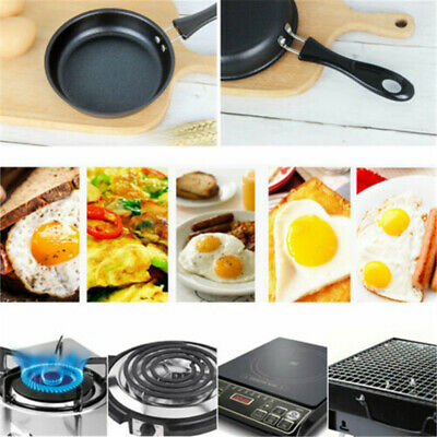 Round Cast Iron Non-Stick Frying Griddle Pan Barbecue Grill Fry BBQ Skillet Pan