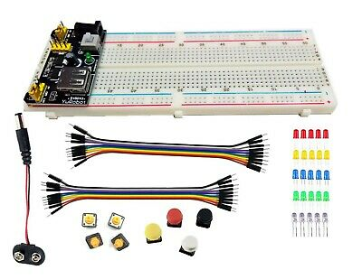 830 Point Solderless Breadboard 20 Wire Jumper Cable Mb-102 Power Supply Module