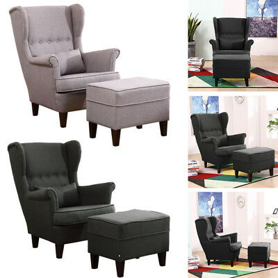 Modern Wooden Frame Chesterfield High Wing Armchair Fireside Chair w/Stool Line