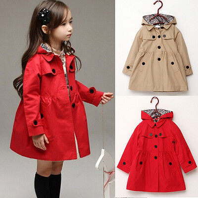 Girl Kids Hooded Trench Coat Windbreaker Jacket Parka Fleece Outwear Clothing UK