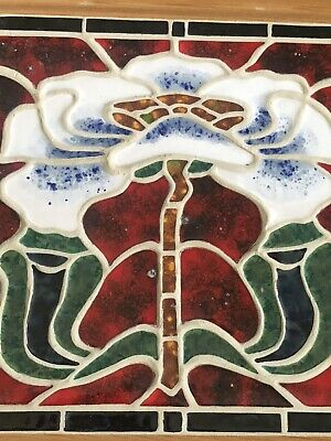 Beautiful Framed Contemporary Tile Art Nouveau Taste Sinuous Flora & Leaves
