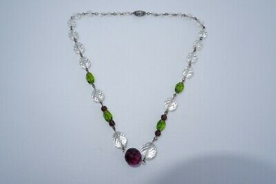 Suffragette Edwardian Crystal Old Gold Wire Necklace - C1910'S, Lovely!