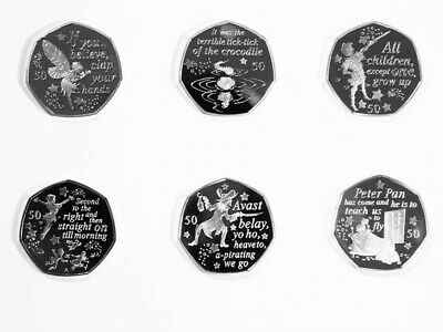 2019 Isle of Man PETER PAN 50p 6 COIN SET