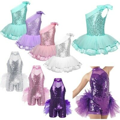 Child Girls Gym Ballet Dance Leotards Tutus Dress Shiny Sequins Performing Wear