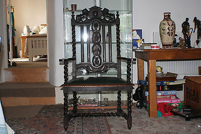 C18th antique 1700's Pope or kings chair carved with lions newly upholstered.