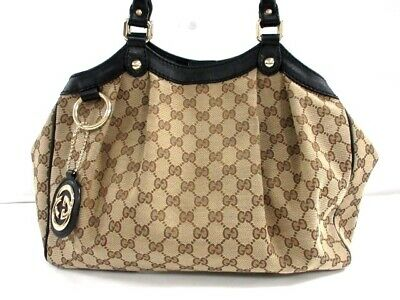 cefb5d6335 Auth GUCCI GG/Sukey 211944 Ivory Brown Black Jacquard Leather Tote Bag