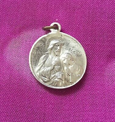 Vintage Antique 1900s Silver Jesus Shepherd Catholic Religious Protection Charm
