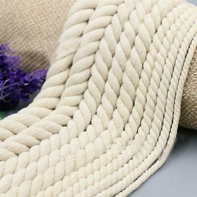 5-20mm Macrame Natural Cotton Rope Twisted Cord Artisan String Color Hand Craft