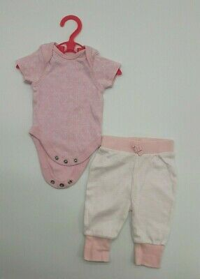 Baby Girl Clothes 0-1 Mth Outfit F&F Pink Cotton Ditsy Bodysuit Stripy Leggings