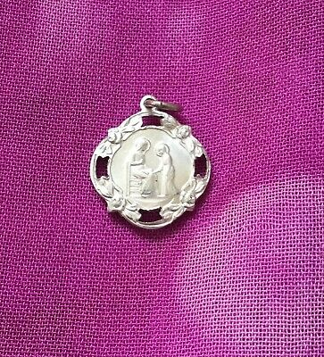 Vintage Antique 1900s Silver Saint Angel Religious Protection Charm Pendant Luck