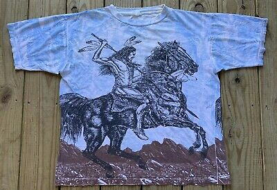 Vintage 90's Native American Horse Wolf All Over Print T Shirt Size XL