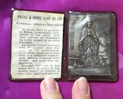 Vintage Antique 1900s Rare Silver Italy Notre Dame Cathedral Pocket Prayer Card