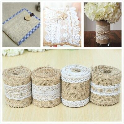 Jute Burlap Natural Hessian Vintage Ribbon Lace Trim Edge Wedding Rustic Decor