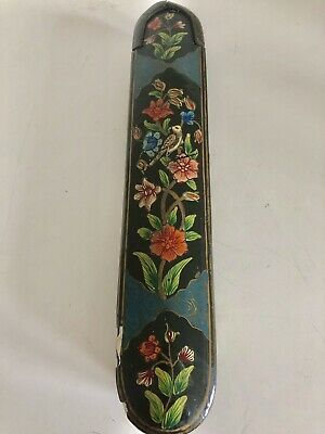 19th C Persian Qajar Hand Painted Lacquered Paper Mache Pen Box