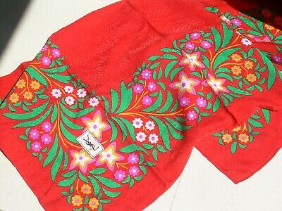 "Ancien Foulard Soie Damassee Vintage ""Yves Saint Laurent"" Tres Colore Silk Scarf"