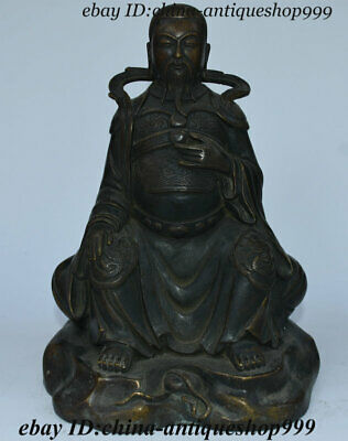 "10"" Antique Old Chinese Bronze ""XuanWu"" Emperor Buddha Sitting Statue Sculpture"