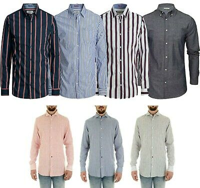 Jack & Jones Men's Striped Long Sleeved Slim Fit Casual Shirt Tops Size S - 2XL