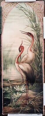 GOLAY original antique art nouveau poster lithograph 1905 Mucha style Herons