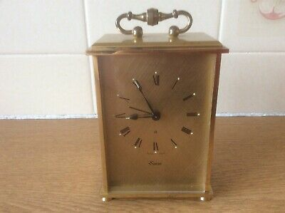 Swiza Heavy Brass 8 Day Vintage  Mantle/Alarm Clock- Swiss Made