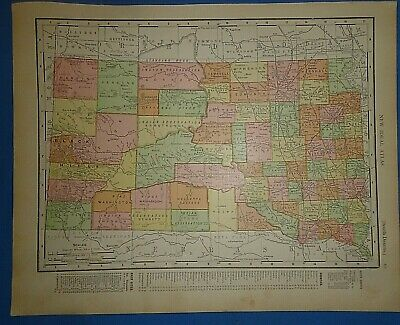 Vintage 1910 SOUTH DAKOTA - BLACK HILLS - DEADWOOD MAP Old Antique Original
