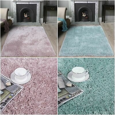 BEST Powder Blue Polyester Shaggy Rugs Furry Cosy Thick Non Shed Blush Pink Rugs
