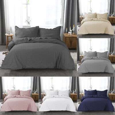 Linen Cotton Duvet Cover Set with Pillow Shams Twin Queen King Deco Buttons