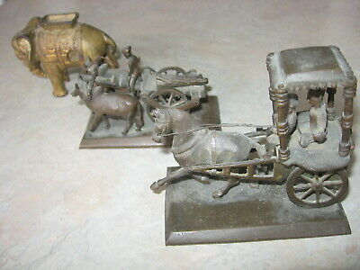Antique metal toys. 3 brass, one cast iron