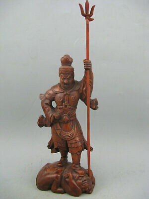 Antique Chinese old Boxwood Hand Carving Dharma master God of Door Amulet Statue