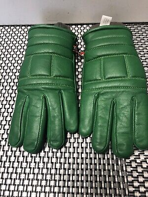 Vintage KOMBI Green LEATHER Insulated Winter Gloves - Woman's Basic (L) Korea