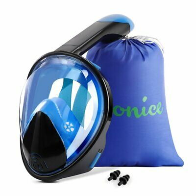 WONICE Snorkel Mask Full Face for Adults,180°Panoramic (Black&Blue, Select)