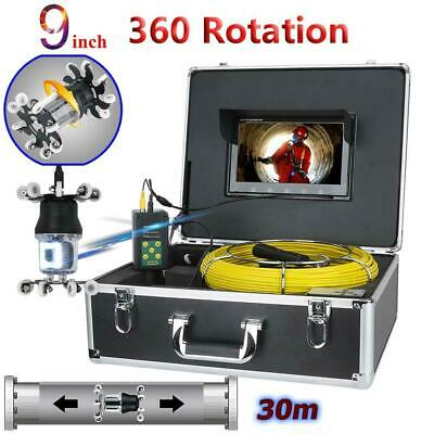 30M 9 inch Drain Sewer Pipeline Industrial Endoscope 38 LEDs 360°Rotating Camera