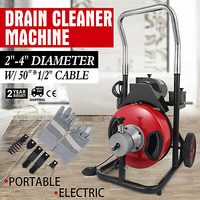 """20-100mm 250W Pipe Drain Cleaner Cleaning Machine 50'x 1/2"""" Augers Spring Cable"""