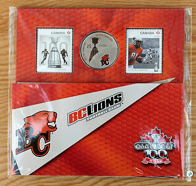 2012 BC Lions Grey Cup Canada Commemorative Quarter and Two Stamps