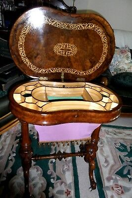 FINE Antique Burr Walnut Sewing Table Box circa 1860  - Lovely Colour