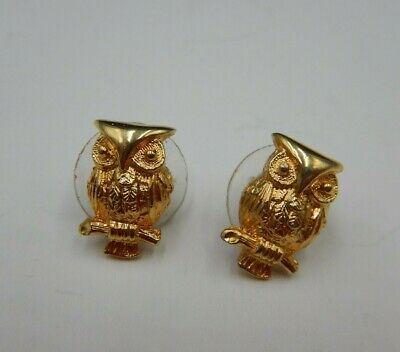 Vintage DOTTY SMITH Gold tone Owl Post Earrings, LOVELY!!!