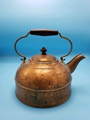 Vintage Revere Copper and Brass Tea Kettle with Red Wood Handle 1801 Revere Ware