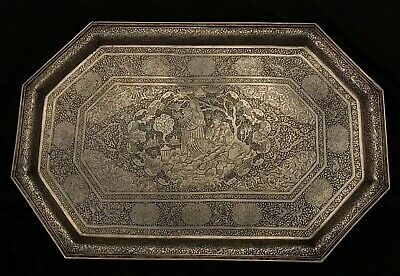 A Very Fine Antique Islamic Persian Qajar Isfahan Solid Silver Tray. Signed