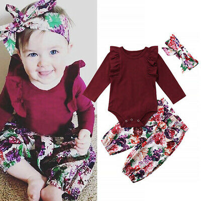 3pcs Newborn Floral Pants Hair Band Long Sleeve Autumn Outfit Cute Girls Casual