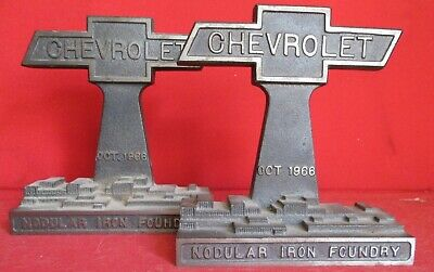 Genuine Chevy Bow Tie Cast Iron Bookends  Chevrolet Nodular Iron Foundry Stout
