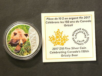 🍁 2017 Canada $10 Grizzly Bear  150th Silver No Tax #2567
