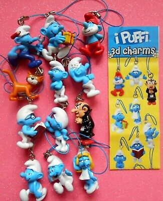 12 Puffi The Smurfs 3D Charms Laccetti Completa Gadget