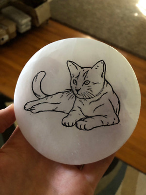 "Etched Cat Polished Selenite Charging Disc Station 3"" Diameter Flat Crystal"
