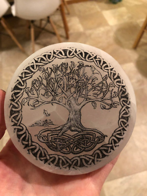 Etched Tree of life Polished Selenite Charging Disc Station - many sizes/shapes