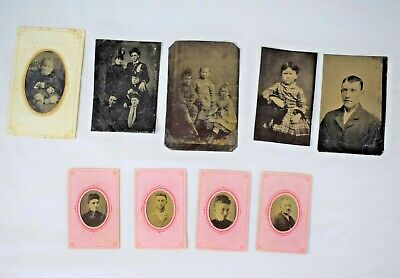 VINTAGE lot of 9 ANTIQUE TIN TYPE PHOTOs Children Family Women Men Gem Size +