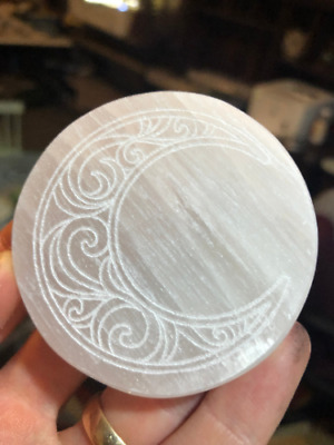 Etched Crescent Moon Polished Selenite Charging Disc Station - many sizes/shapes