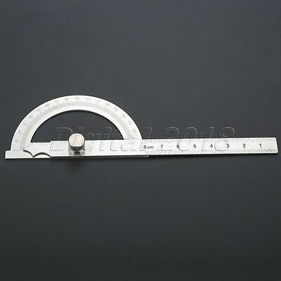 Hollow Scale 8cm Protractor Angle Finder Rotary Ruler Stainless Steel 180 Degree
