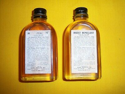 1940s WWII US USMC USN USAAF JUNGLE FIRST AID POUCH INSECT REPELLENT BOTTLES MIP