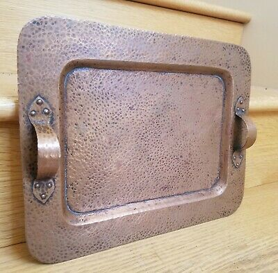 "c.1910 BENEDECT STUDIOS Hammered Copper Tray ARTS & CRAFTS Stickley Era 14""x10"""