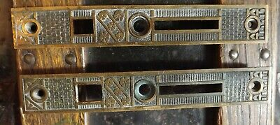 Antique F C Linde & Co Entry EASTLAKE DOOR MORTISE LOCK Brass End Plates Vintage